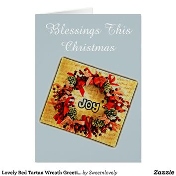 Lovely Red Tartan Wreath Greetings Holiday Card