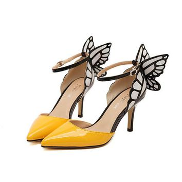 2017 New Butterfly Wings Pointed Pumps Tip Fine With Spell Color High Heels Yellow Black Thin Heel Women Shoes Plus Size 40 ZK30