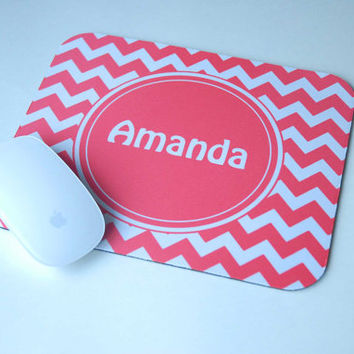 Coral Pink Chevron + Monogram Personalized Mouse Pad for Computer Desk
