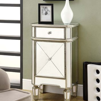 Monarch Specialties 1-Drawer Accent Cabinet, Mirrored