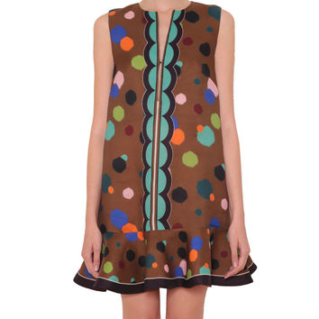Ter Et Bantine Silk polka-dotted dress with flounce