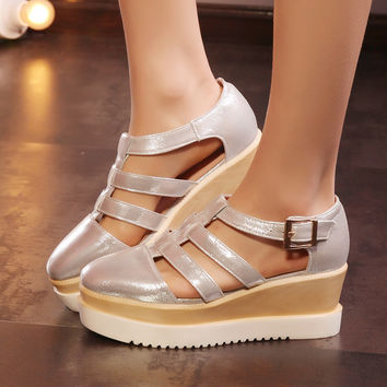 big size33-43 new woman platform shoes pu leather high-heeled platform pumps square toe wedges shoes female shoes