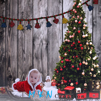Instant Download. Beautiful Digital Backdrop Christmas Tree Holiday. Santa Newborn Sleigh Prop Background . Baby Scene Photography