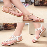 Summer Ladies Bohemia Floral Flat Shoes Beach Sandals Thongs Slippers Flip Flops = 1928409348