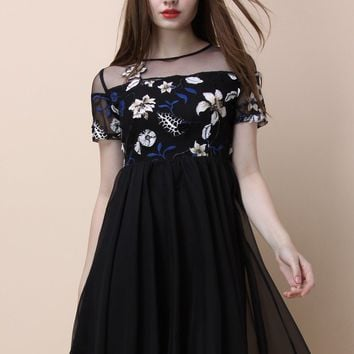 Floral Zen Embroidered Dress in Black