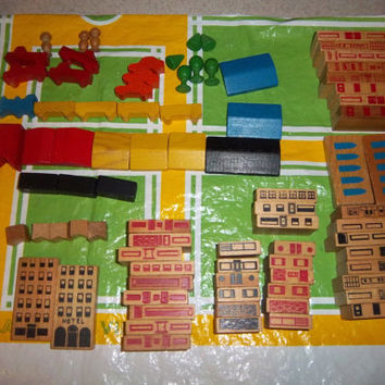 PLAYSKOOL VILLAGE 70s Vintage Build Toy - 86 Wooden Building Pieces, Plastic Town Mat, & Canister