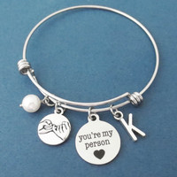 Personalized, Letter, Initial, Pinky, Promise, you're my person, Pearl, Bangle, Bracelet, Grey's Anatomy, Greys, Anatomy, Gift, Jewelry