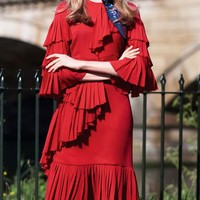 Red Ruffle Detail Flare Sleeve Pleated Dress