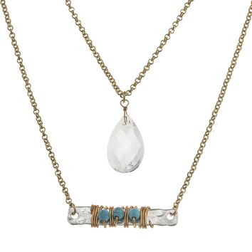Wire-Wrapped Turquoise Stone Bar And Teardrop Crystal Necklace