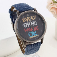Unisex Cute Vintage Novelty Everything will be ok Watch Denim Blue