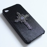 Purple Rhinestone Metal Cross iPhone 4 Case by VanityCases on Etsy