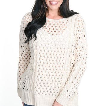 Oatmeal Eyelet Sweater