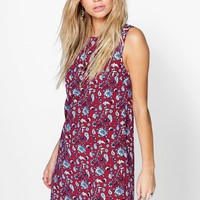 Saly Paisley Print Sleeveless Shift Dress