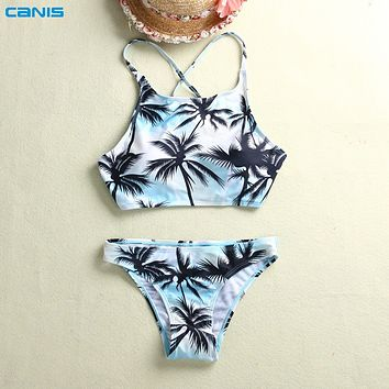 ca759ec2b2 Print Floral Palm Tree Bikini Set Halter crop top hang High neck Bikinis set  push up