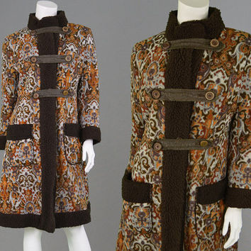 Vintage 60s 70s Tapestry Coat Boho Jacket Carpet Coat Upholstery Jacket Russian Princess Coat 1960s Mod Faux Sheepskin Fleece Lining Paisley
