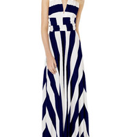 Blue and White Stripe Halterneck Convertible Maxi Dress