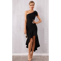 Real Romance Black Sleeveless One Shoulder Ruffle Bodycon Bandage Asymmetric High Low Maxi Dress