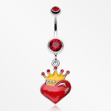 Vibrant Crowned Heart Sparkle Belly Ring