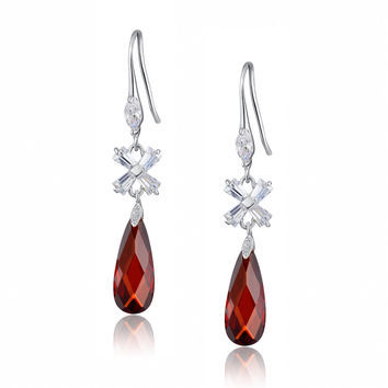 Teardrop and X-shaped Baguette Cubic Zirconia Earrings (Red)