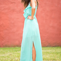 Ruffle The Deck Maxi Dress, Mint
