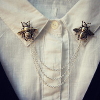 Bee collar pins, collar chain, collar brooch, lapel pin, bee pin, bee brooch