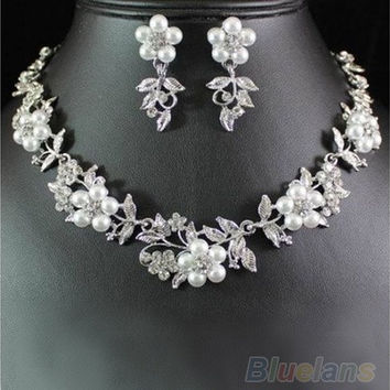 FLORAL PEARL AUSTRIAN RHINESTONE CRYSTAL NECKLACE EARRINGS SET BRIDAL [7980779975]