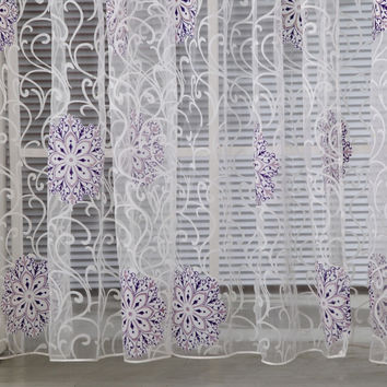 Room Floral Tulle Window Curtain Drape Panel Decal Scarf Valances Door Decor