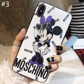 Moschino x Disney co-branded tide brand couple soft shell iPhone XS Max phone case #3