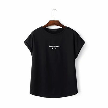 Letter Beading Cap Sleeve Tee Shirts