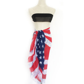 American Heritage flag  Scarf & Wrap Beach Sarong  Cover-up