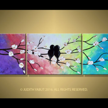 "Art Rainbow Painting Hand Made Love birds Triptych Painting Landscape on White and Gold Blossom 48"" Wall Hangings Fine Art by Judith Yabut"