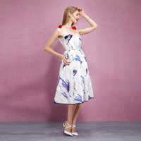 Casual Spaghetti Strap With Flower Design Floral Printed Midi Dress