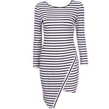 Black and white stripe dress party dress