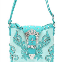 Western Cowgirl Flower Rhinestone Belt Design Messenger Bag In Aqua