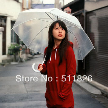 Stick Umbrella Clear Transparent mushroom Umbrella Princess Umbrella/ parasol