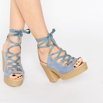 ASOS TOYA Lace Up Chunky Sandals at asos.com