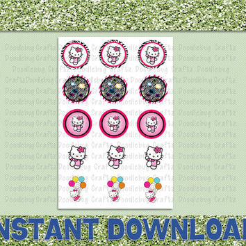 "Hello Kitty Bottle Cap Images - Birthday Party Favor Tags - 1"" circles bottlecap - Stickers"