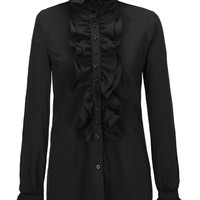 Black High Neck Fuffle Detail Long Sleeve Shirt
