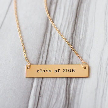Class of 2018 Gold / Silver Bar Necklace