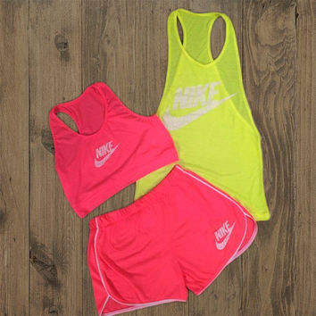 Nike Fashion Casual Solid Color Vest Shorts Set Three-Piece Sportswear