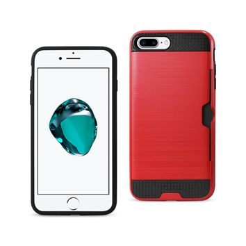 New Slim Armor Hybrid Case With Card Holder In Red For iPhone 7 Plus