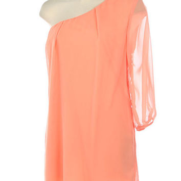 Peach One Shoulder Chiffon Dress with Sheer Sleeve