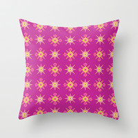 Artistic pink purple pattern Throw Pillow by cycreation