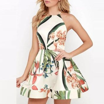 Flower Print Backless Strap A Line Casual Skate Dress