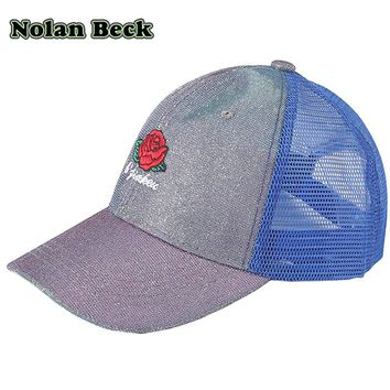 Nolan Beck Casual Baseball Cap for Women Rose Letter Sequins Flashes Girl 's Breathable Mesh Hat Baseball Bone Feminino s037