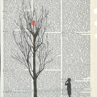 Dictionary Art Print Illustration of  Silhouette Boy searching for his kite Print on Upcycle Vintage Page Book Print Art Print Collage Print