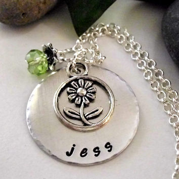 Sunflower Jewelry, Personalized Jewelry, Sunflower Necklace, Hand Stamped Jewelry