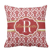 Chic Red Damask Monogrammed & Personalized Throw Pillow