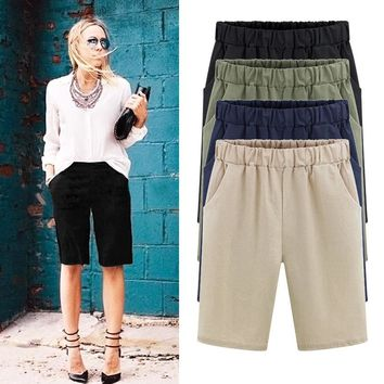Summer sexy women shorts Cotton shorts Solid Color pants casual womens plus size M-6XL short pants