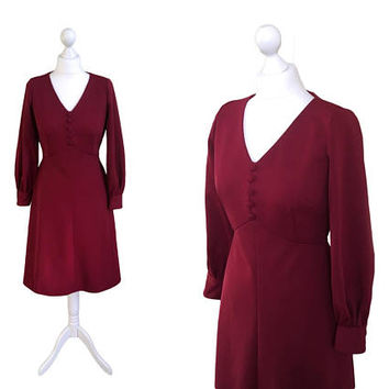 1970's Red Dress | Vintage Dress With Bishop Sleeves | Red Dress | Burgundy Wine Dress | 36 38 Bust | Long Sleeved Red Vintage Dress